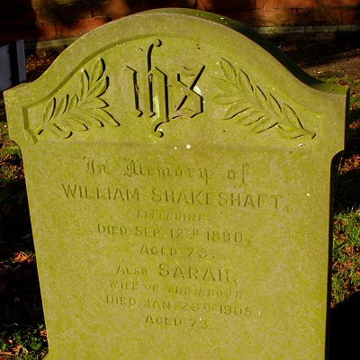 Gravstone at High Ercall: William Shakeshaft and Sarah (nee Icke)