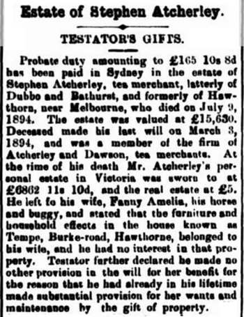 Atcherley, Stephen - Bathurst Free Press 23 Jan 1895