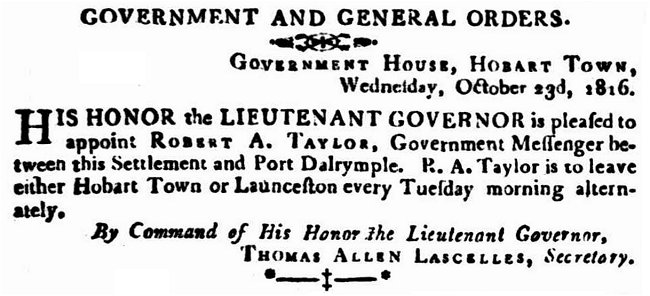 Robert Atcherley Taylor - Govt Notice 1817