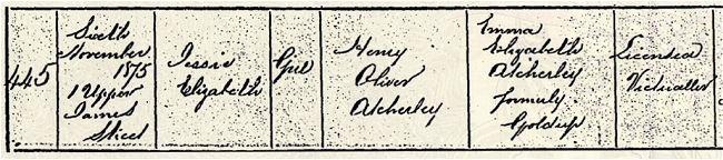 Atcherley, Jessie Elizabeth - birth certificate