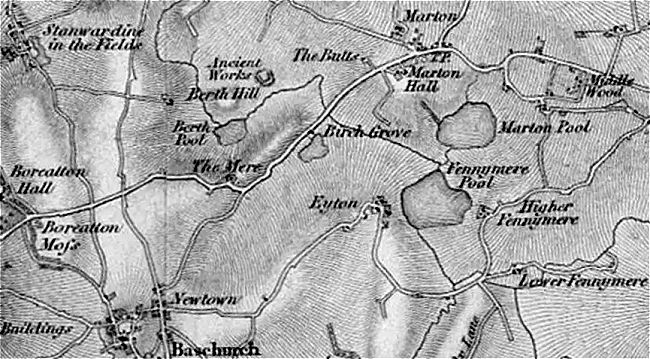 Map - Baschurch, Stanwardine, Marton 1830s