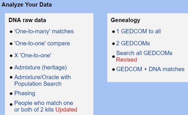 other - GedMatch Analyze Data