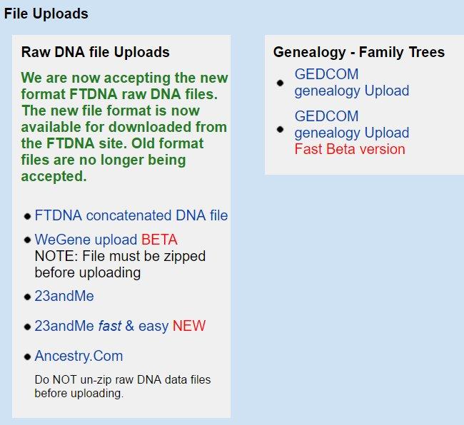other - GedMatch File Uploads