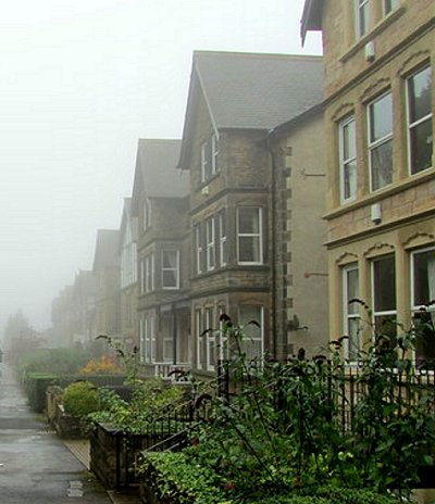 Houses on Harlow Moor Drive, on a foggy day in 2012